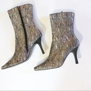 Anne Michelle Tapestry Sequin Heeled Boots